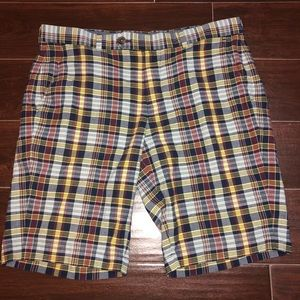 Men's plaid brooks brothers flat front shorts 36